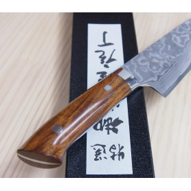 Faca japonesa santoku TAKESHI SAJI -Aço niquel damascus - VG10 -ironwood - Tam: 18cm