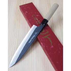 Faca japonesa do chef gyuto YOSHIHIRO Kurouchi white steel tam:21cm