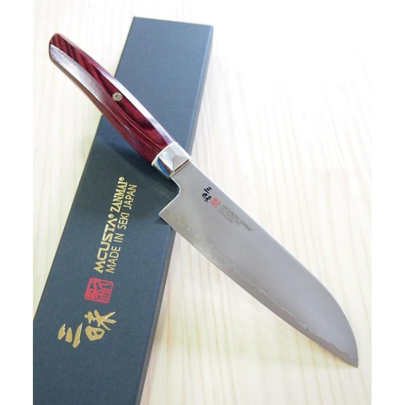 Faca japonesa Santoku - ZANMAI - Série Revolution - Cabo Decagonal red - Aço SG2 - Tam: 15cm