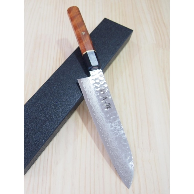 Faca japonesa santoku SUISIN damascus martelado VG-10 - cabo de madeira chinese quince tam: 18cm