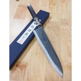 Faca japonesa do chef gyuto KYUSAKICHI - Aço ZDP189 - Kurouchi - cabo customizado -Tamanho:24cm